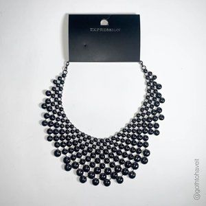 Expression Black Statement Necklace